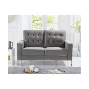 Kosmo 2 Seater In Velvet Grey With Metal Legs