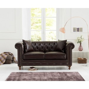 Concetta 2 Seater Sofa In Brown Leather With Dark Ash Legs