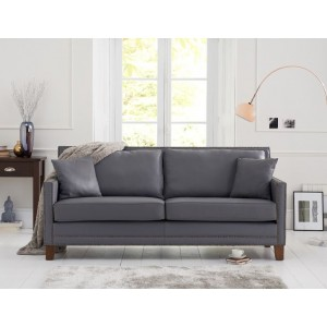 Rochester 3 Seater Sofa In Grey Leather With Dark Ash Legs
