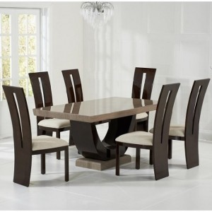 Memphis Marble Dining Set In Brown With 8 Arizona Cream Dining Chairs