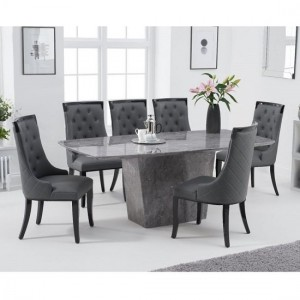 Rome Marble Dining Table In Grey With Six Adira Dining Chairs