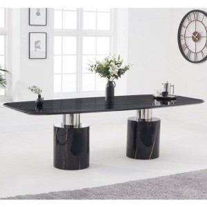 Santiago Marble Oval Top Dining Table In Black Finish