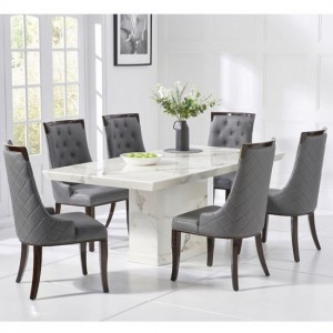 Carvelle Marble Dining Table In White With Six Adira Chairs