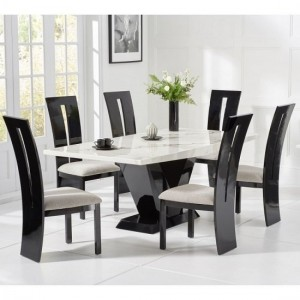 Loire Large White Marble Dining Table With Six Arizona Chairs
