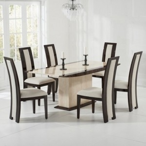 Arturo Marble Dining Table Cream And Brown With 6 Elbani Chairs