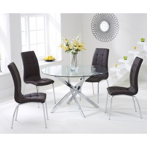 Panama Round Glass Dining Table With 4 Opal Brown Dining Chairs