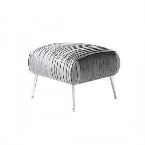 Aaliyah Charcoal Velvet Stool With Chrome Legs