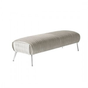 Aaliyah Grey Velvet Bench With Chrome Legs