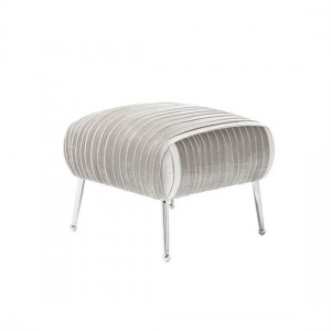 Aaliyah Grey Velvet Stool With Chrome Legs