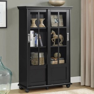 Aaron Lane Wooden Bookcase In Black With Sliding Glass Doors