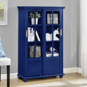 Aaron Lane Wooden Bookcase In Blue With Sliding Glass Doors