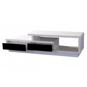 Abberly Wooden TV Stand In White High Gloss With Push Open Drawers