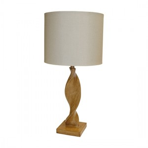 Abia Natural Linen Cylinder Shade Table Lamp In Oak Effect