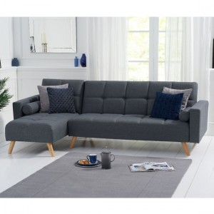 Abigail Linen Left Hand Facing Chaise Sofa In Grey