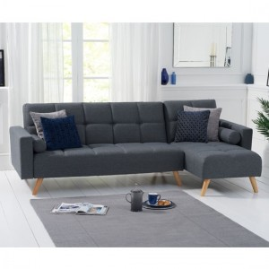 Abigail Linen Right Hand Facing Chaise Sofa In Grey