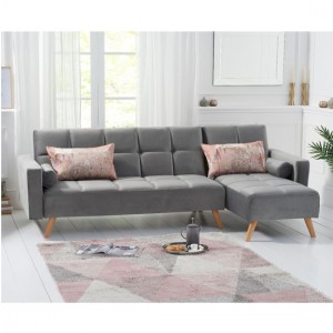 Abigail Velvet Right Hand Facing Chaise Sofa In Grey
