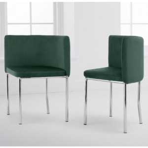 Abingdon Set Of 4 Velvet Dining Chairs In Green With Chrome Legs