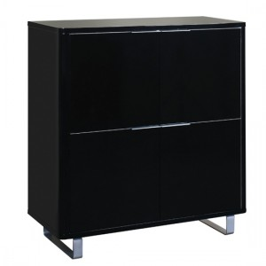 Accent Wooden Storage Cabinet In High Gloss Black With 4 Drawers