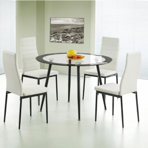 Acodia Clear Black Border Glass Dining Set With 4 PU Chairs