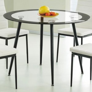 Acodia Round Clear Glass Dining Table With Black Border