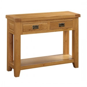 Acorn Solid Oak Side Table In Light Oak With 2 Drawers