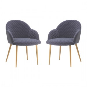 Acton Grey Velvet Armchair In Pair With Oak Metal Legs