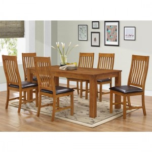 Adderley Wooden Dining Set In Walnut With 6 Chairs