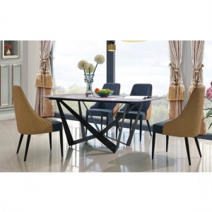 Adelaide Blue And Sand Marble Dining Set With 6 PU Chairs