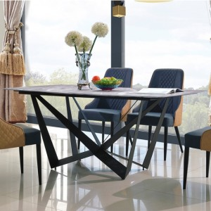Adelaide Marble Dining Table With Black Metal Frame