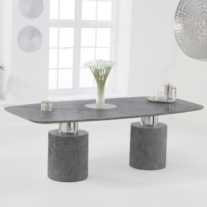 Adeline 220cm Marble Rectangular Dining Table In Grey