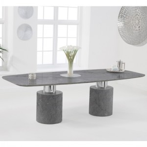Adeline 260cm Marble Rectangular Dining Table In Grey