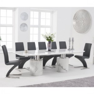 Adeline 260cm White Marble Rectangular Dining Table With 8 Hereford Grey Chairs
