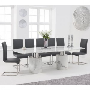 Adeline 260cm White Marble Rectangular Dining Table With 8 Malibu Grey Chairs