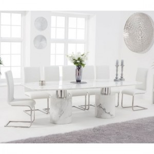 Adeline 260cm White Marble Rectangular Dining Table With 8 Malibu White Chairs