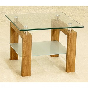 Adina Clear Glass Lamp Table With Oak Wooden Legs
