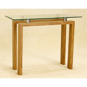 Adina Glass Console Table With Oak Wooden Legs