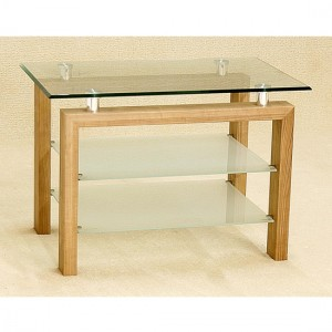 Adina Glass TV Stand With Oak Wooden Legs