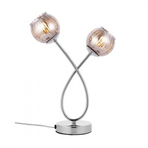 Aerith Smoked Glass Shades 2 Lights Table Lamp In Polished Chrome