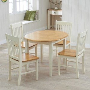 Alaska Round Wooden Dining Set With 4 Chairs In Oak And Cream