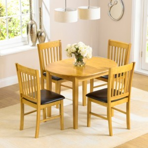 Alaska Round Wooden Dining Set With 4 Chairs In Oak