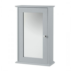 Alaska Wooden Wall Mirror Cabinet In Grey