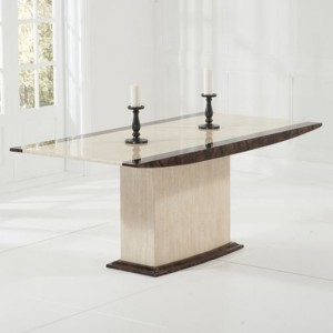 Alba 180cm Marble Dining Table In Cream And Brown