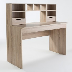 Albion Wooden Computer Desk In Light Oak With Hutch