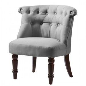 Alderwood Fabric Chair In Grey With Brown Wooden Legs