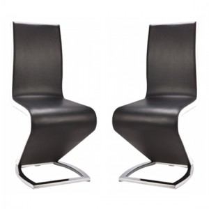 Aldridge Black Dining Chair In Pair With White PU Sides