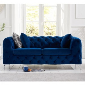 Alegra Plush Velvet 2 Seater Sofa In Blue