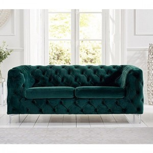 Alegra Plush Velvet 2 Seater Sofa In Green