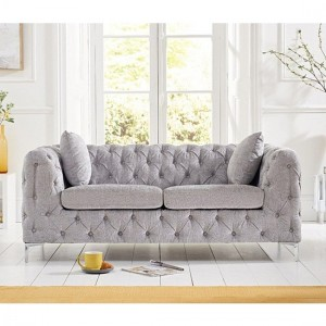 Alegra Plush Velvet 2 Seater Sofa In Grey