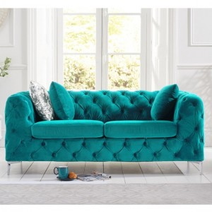 Alegra Plush Velvet 2 Seater Sofa In Teal