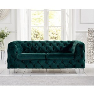 Estelle Fabric 2 Seater Sofa In Green With Sleek Metal Legs